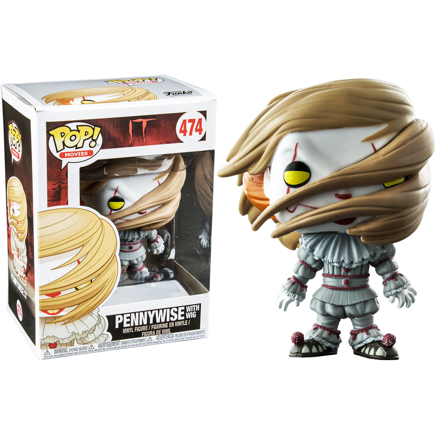 Funko It 2017 Pennywise With Wig Pop Vinyl Figure At