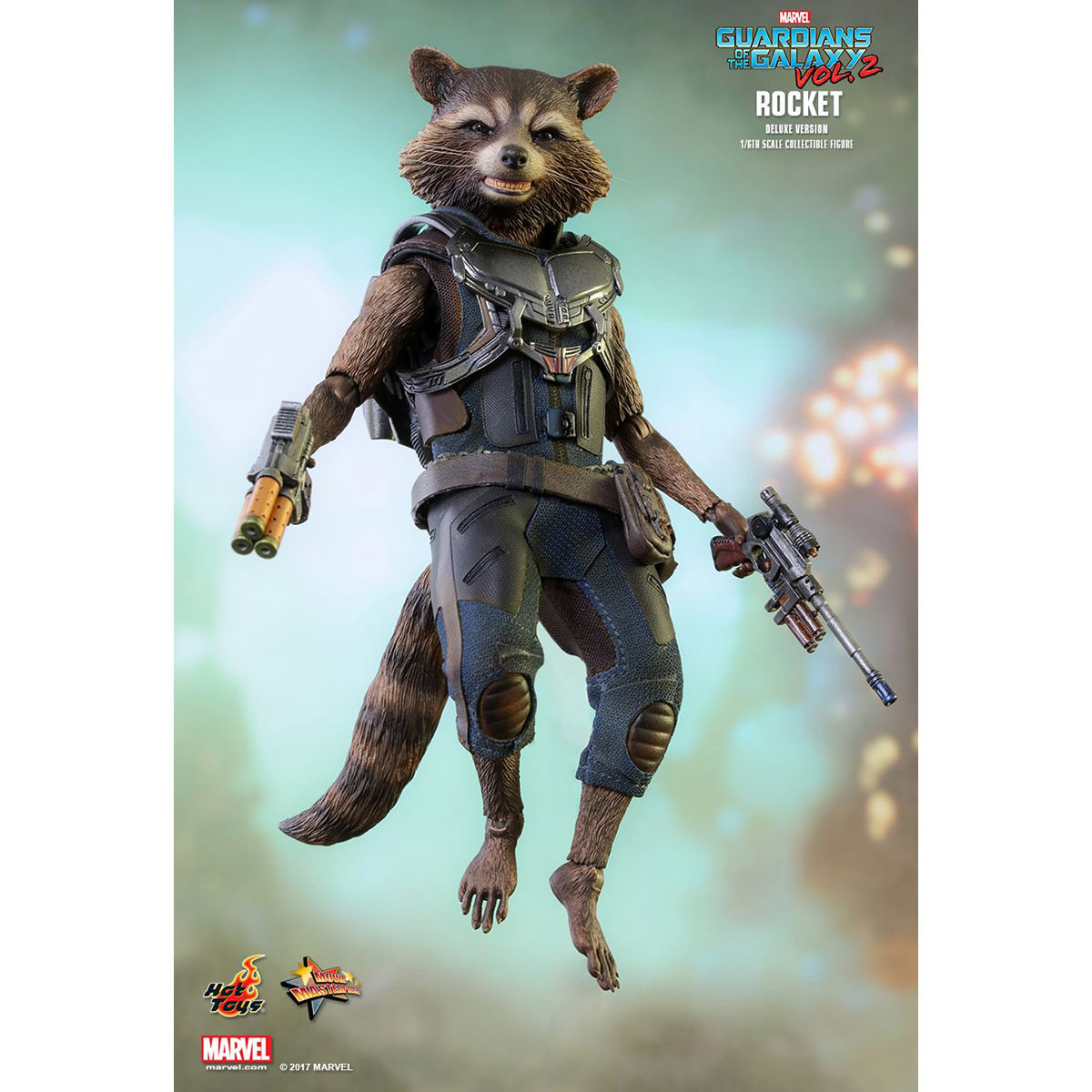 Hot Toys Marvel Guardians Of The Galaxy Vol 2 Rocket Deluxe Raccoon Super Vinyl Figure Version 1 6th Scale Collectible