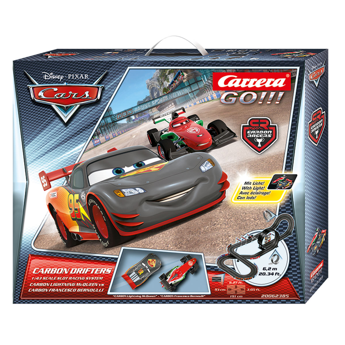carrera go disney cars carbon drifters 1 43 scale slot. Black Bedroom Furniture Sets. Home Design Ideas