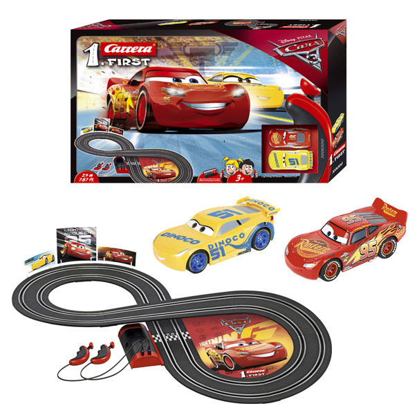 carrera first disney pixar cars 3 slot car set at hobby warehouse. Black Bedroom Furniture Sets. Home Design Ideas