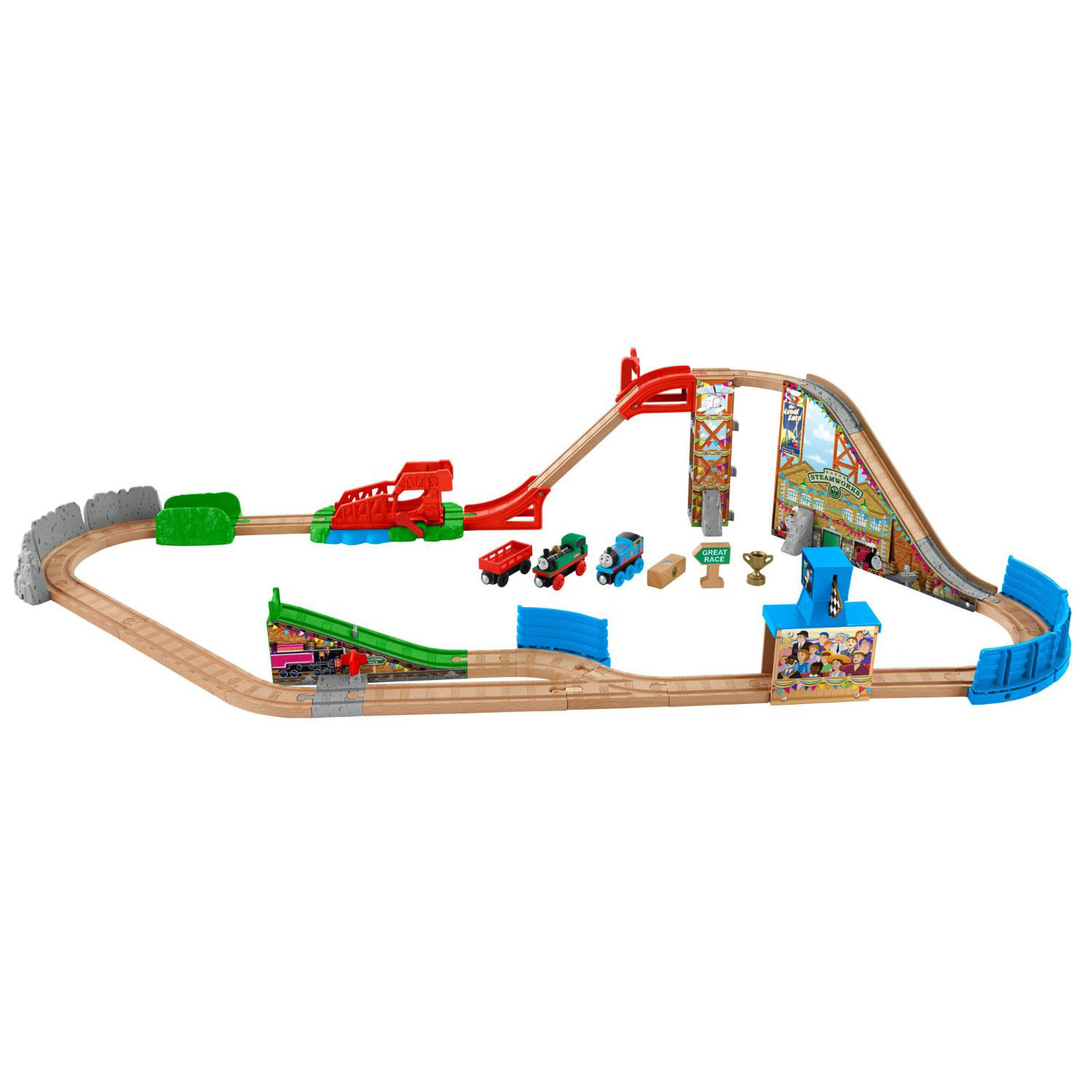 fisher price thomas friends wooden railway race day relay set at hobby warehouse. Black Bedroom Furniture Sets. Home Design Ideas