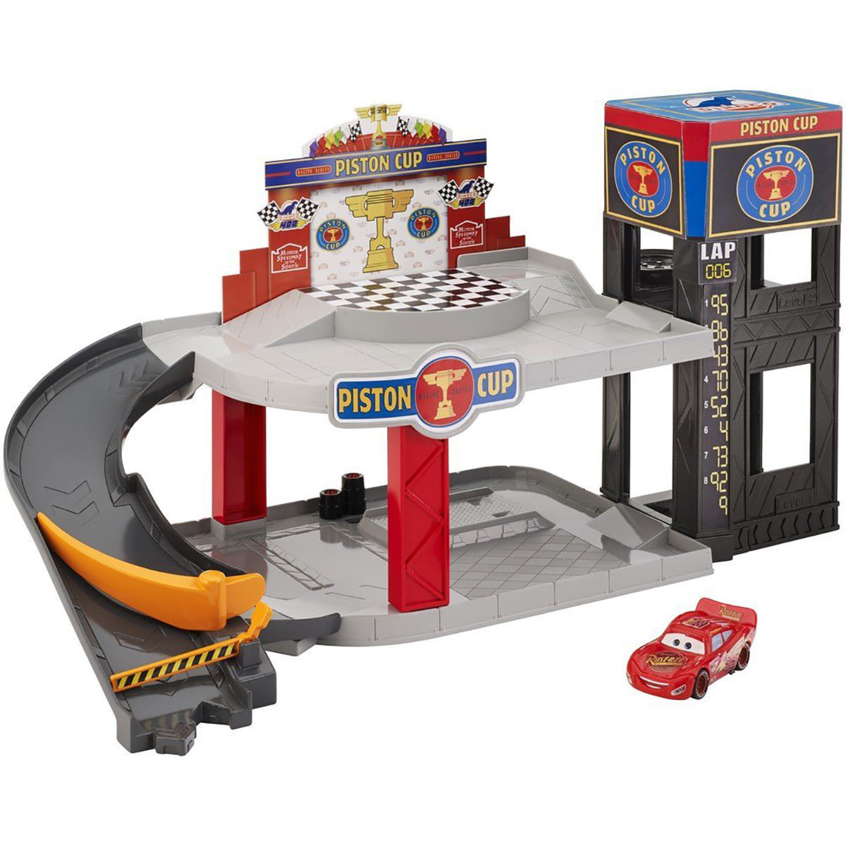 pixar cars piston cup racing garage at hobby warehouse. Black Bedroom Furniture Sets. Home Design Ideas