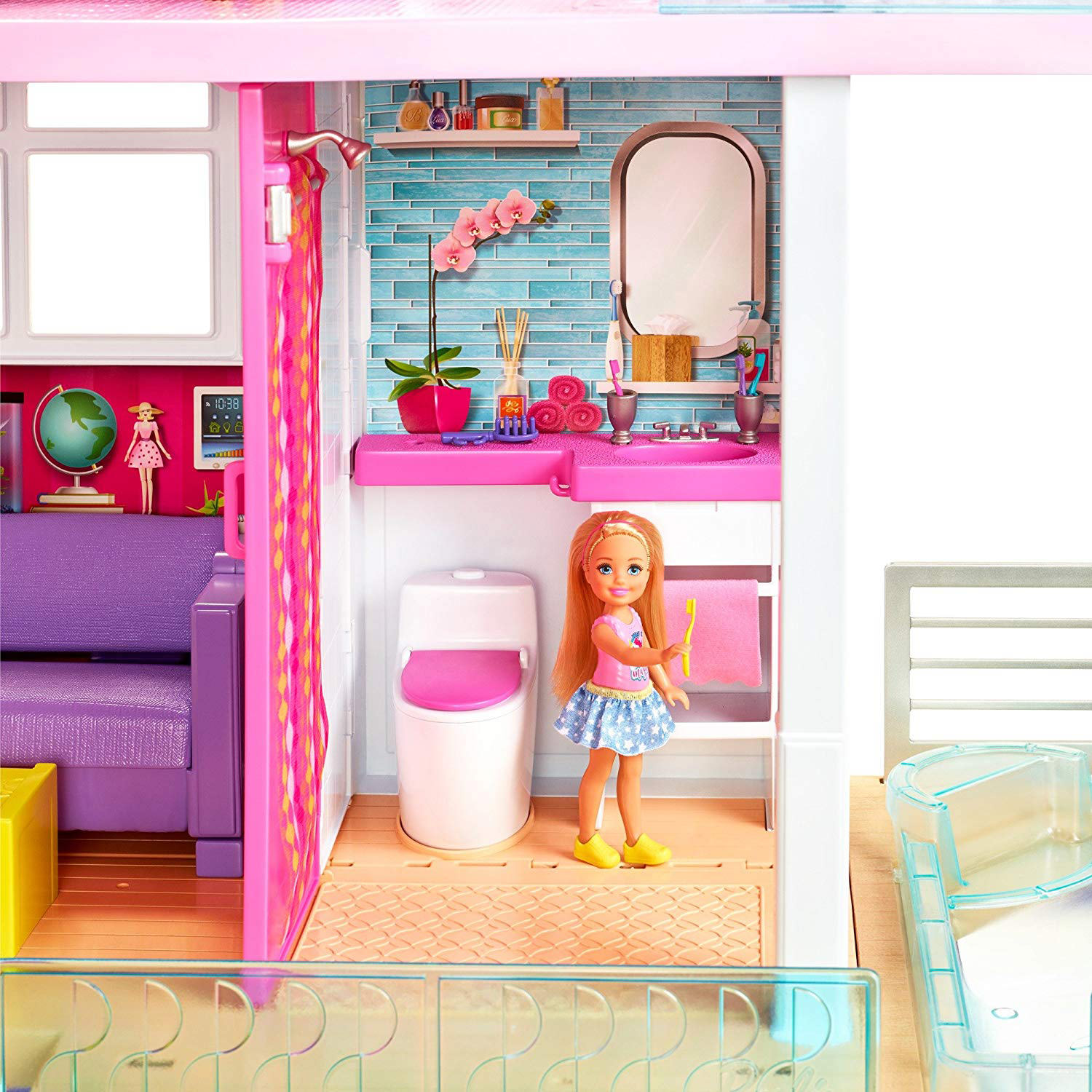 Barbie Dreamhouse Playset With Pool Elevator And Slide At