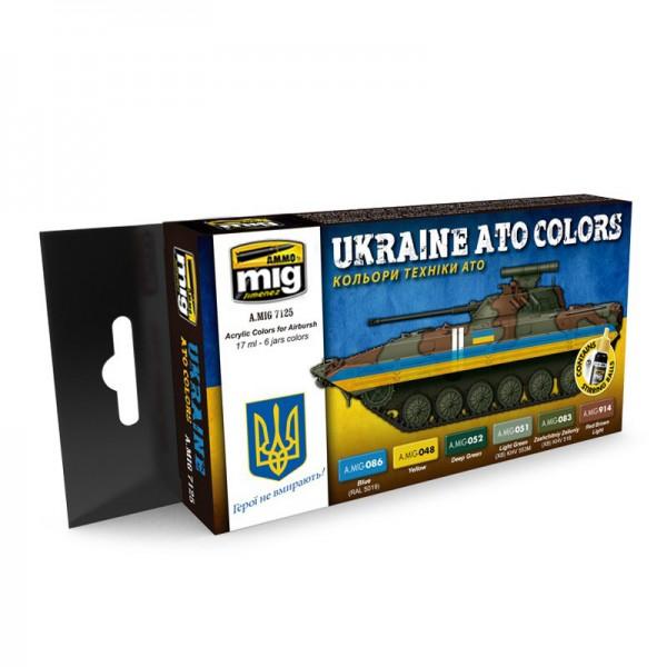 AMMO by Mig Jimenez 7125 Ukraine ATO Colors Acrylic Paint Set (6x 17ml Jars)