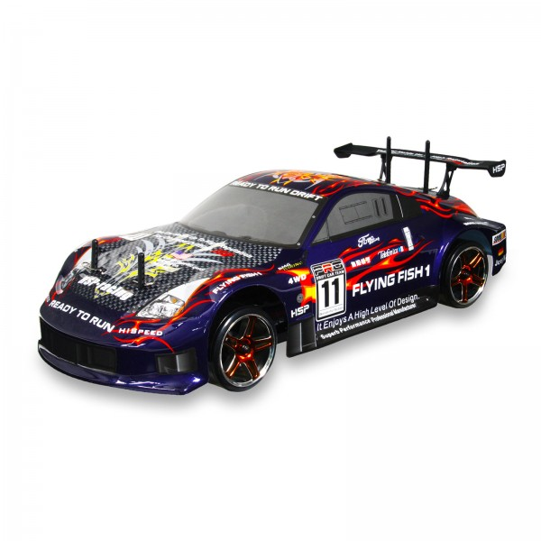HSP 94123-12309 Purple 2 4Ghz Flying Fish Electric Drift Road 1/10 Scale RC  Car