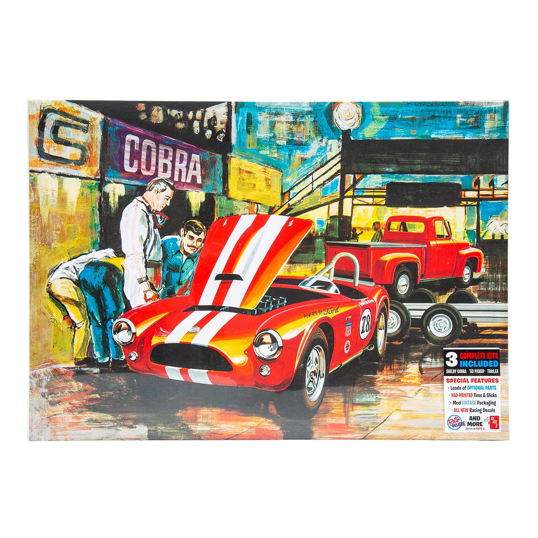 AMT 1073 1/25 Grand Prix Cobra Racing Team D'Amerique With Shelby Cobra,  '53 Pickup & Trailer 3x Model Kits