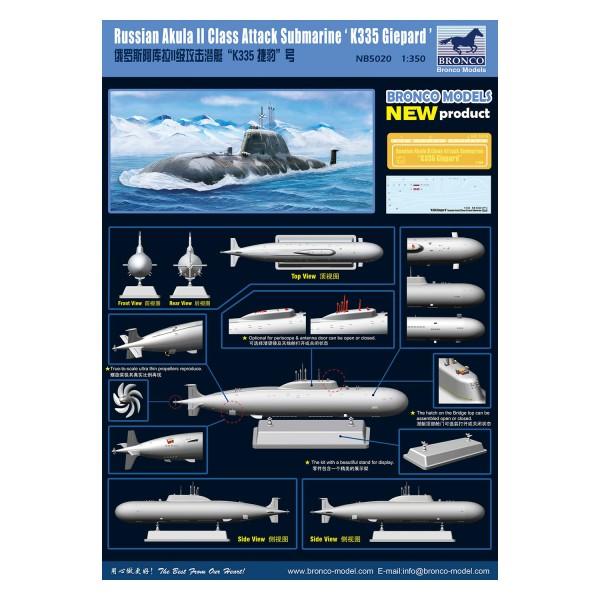 Neu Bronco Nb5020-1//350 Russian Akula II Class Attack Submarine K335 Giepard