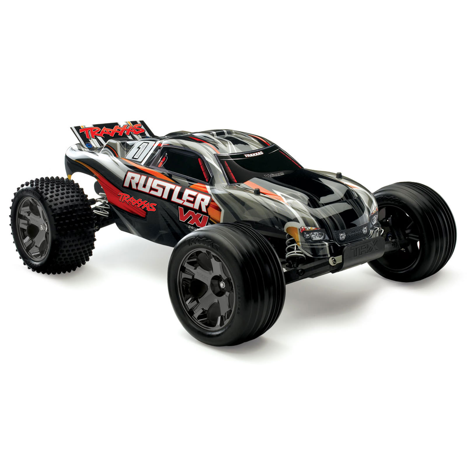 Traxxas 3707 Rustler Vxl Black Rc Truck At Hobby Warehouse